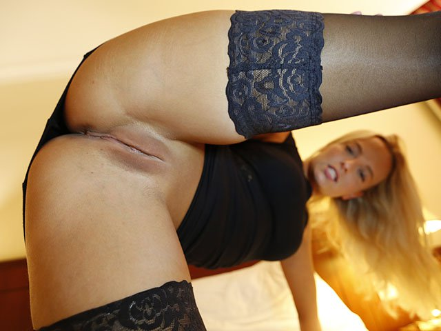 First Date Blonde stockings and no panties under dress